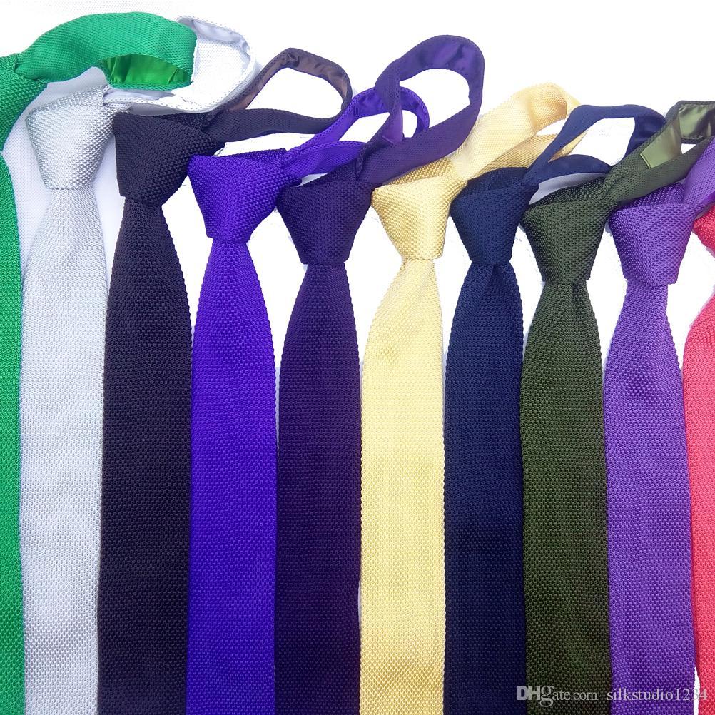Мужские трикотажные стяжки Skinny Slim узкие горизонтальные полосатые жаккардовые тканые квадратные плоские концевые текстурированные галстуки Рука микрофибры в вариант цвета черный желтый королевский синий