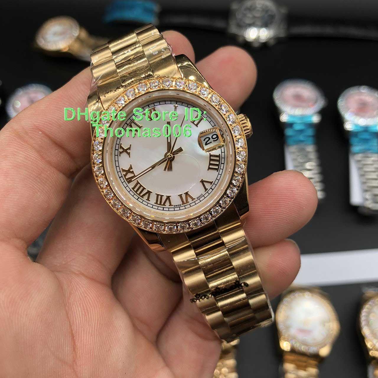 12 ألوان أفضل بائع watchpresidd الماس الحافة النساء غير القابل للصدأ الساعات أدنى سعر إمرأة السيدات التلقائي الميكانيكية ووتش 36 ملليمتر هدية