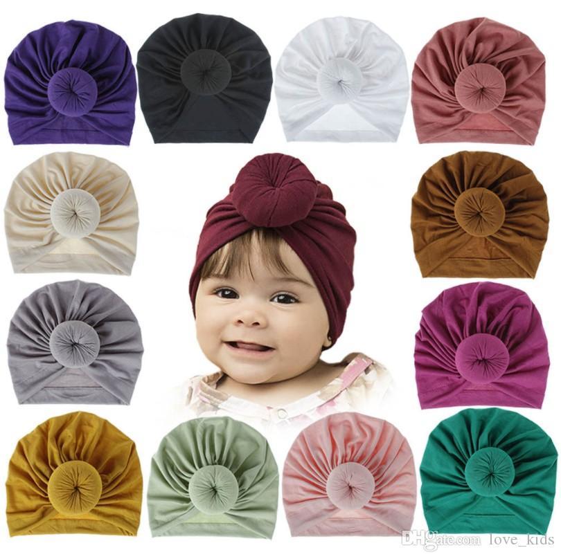 18 renkler Çocuk Aksesuarları Yenidoğan Bebek Çocuk Erkek Bebek Kız Turban Pamuk Beanie Hat Kış Isınma Yumuşak Cap Katı Knot Yumuşak Wrap