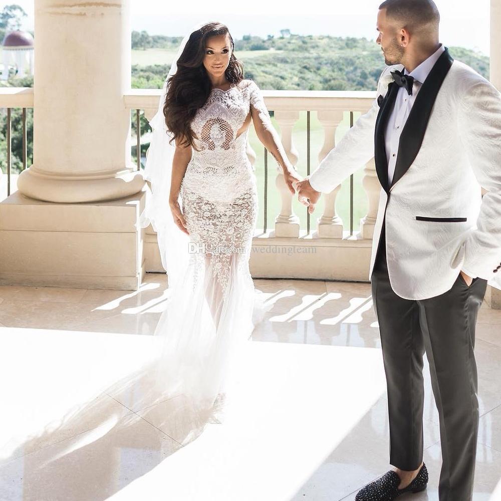 Vestidos de novia increíble sirena moldeada del cordón de Bateau cuello de manga larga vestidos de novia más el tamaño de tul botones forrados Vestidos de boda