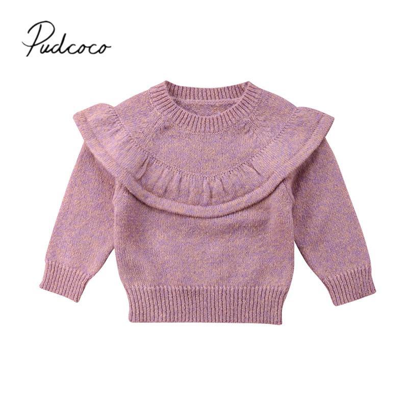 2018 Brand New Autunno Inverno bella del bambino del bambino Maglione riscaldano top a manica lunga Solid Ruffles Pullover Tops Outfit