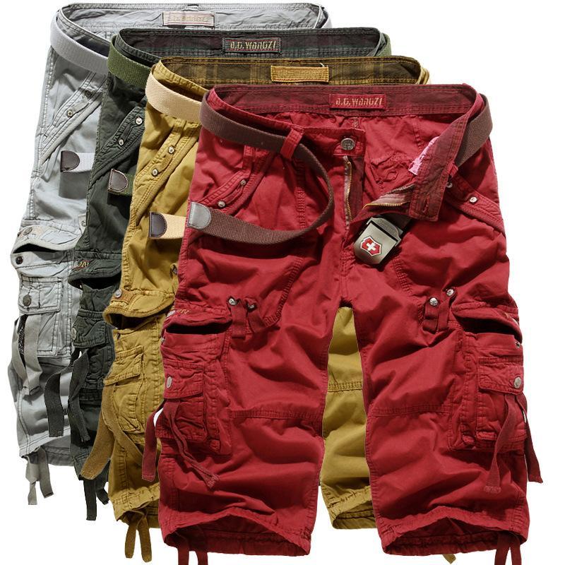 Мужские камуфляжные мультикарманные однотонные шорты Летние хлопчатобумажные повседневные мужские брюки-капри Удобные камуфляжные шорты для мужчин плюс размер