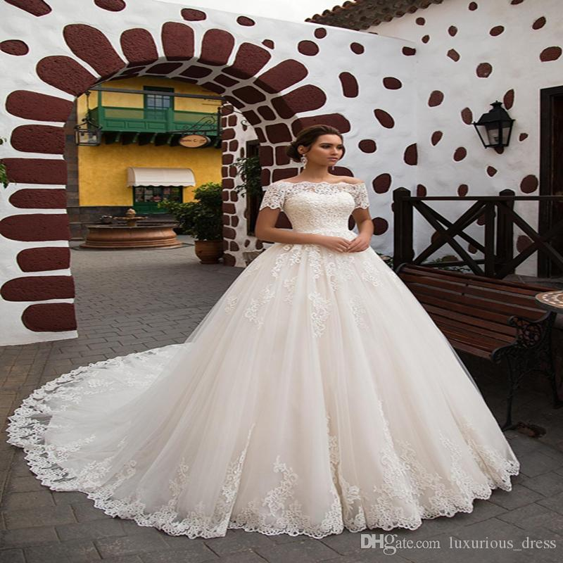 Cheap Princess A Line Wedding Dresses Off-shoulder Short Sleeve Sweep Train Plus Size Bridal wedding dress Vestidos De Novia Bridal Gowns