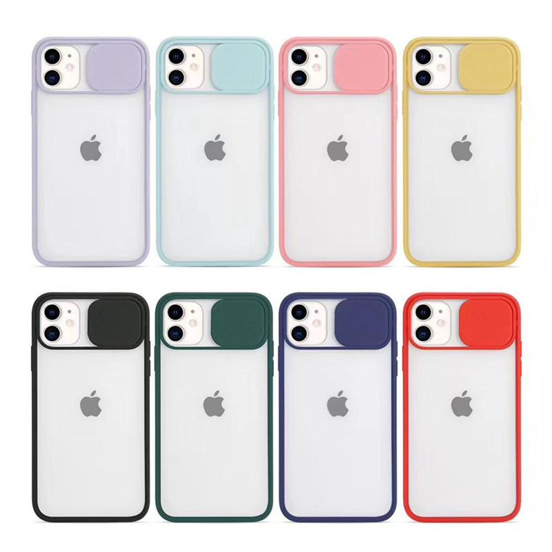 Slide Camera Lens Protection Phone Cases For iPhone 11 Pro Max XR X XS Max 7 8 Plus SE 2020 Case TPU Frame Matte PC Back Cover