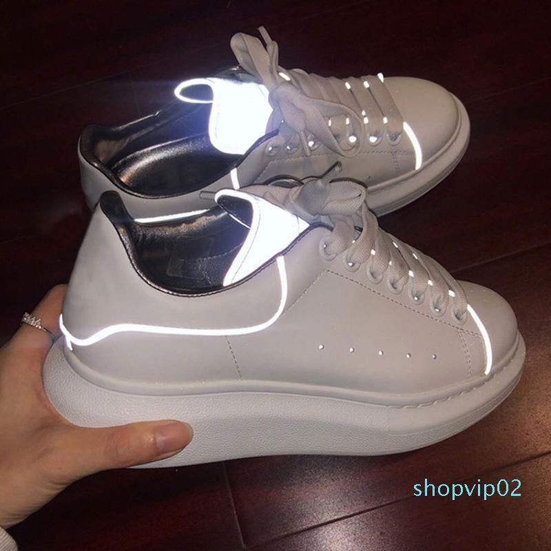 Designer 3m sapatos REFLEXIVA plataforma para menina das mulheres dos homens brancos de couro preto sapatos de plataforma plana Casual tamanho Wedding Party Sports 36-44