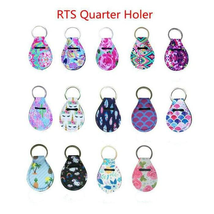 Coin keychain chapstick holder neoprene keychain key holder floral print with metal ring RTS quarter holer