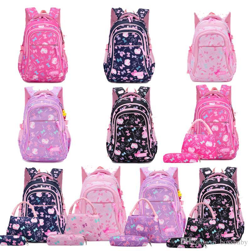 Dieci colori sacchetto di scuola vestito Back To School Girl Bow Cat Stampato Zipper sacchetto di spalla sacchetto della penna tre pezzi