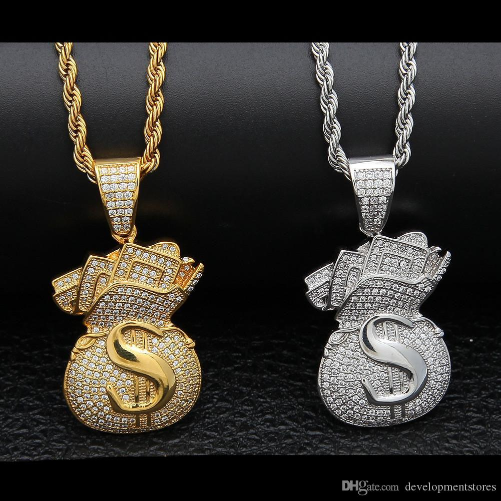 Mens Hip Hop gioielli in oro argento colore placcato ICED OUT Piena Zircon Dollar Money Bags Collana pendente
