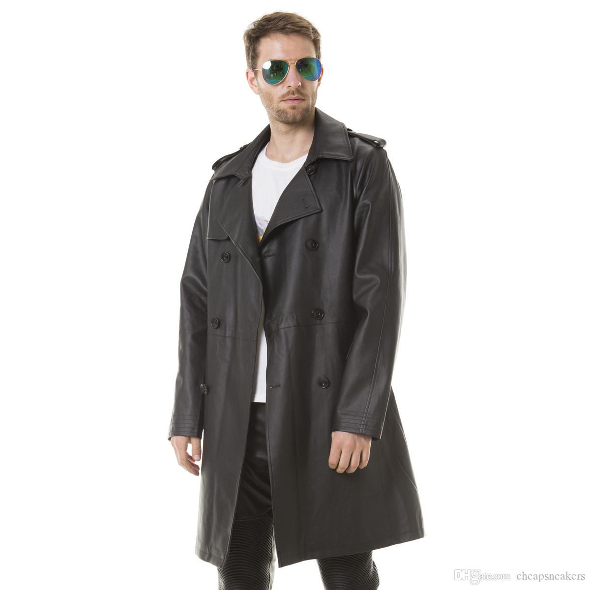 Men's Spring thin Long trench coat Adjustable Waist good quality PU Leather handsome man England Style with Double Breasted