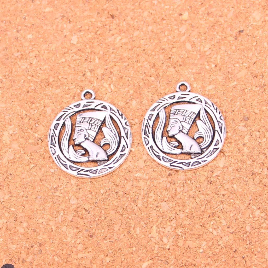 61pcs Anhänger ägyptischen Königin Nofretete Antike-Silber überzogene Anhänger, die DIY Handmade tibetischen Silberschmuck 22mm