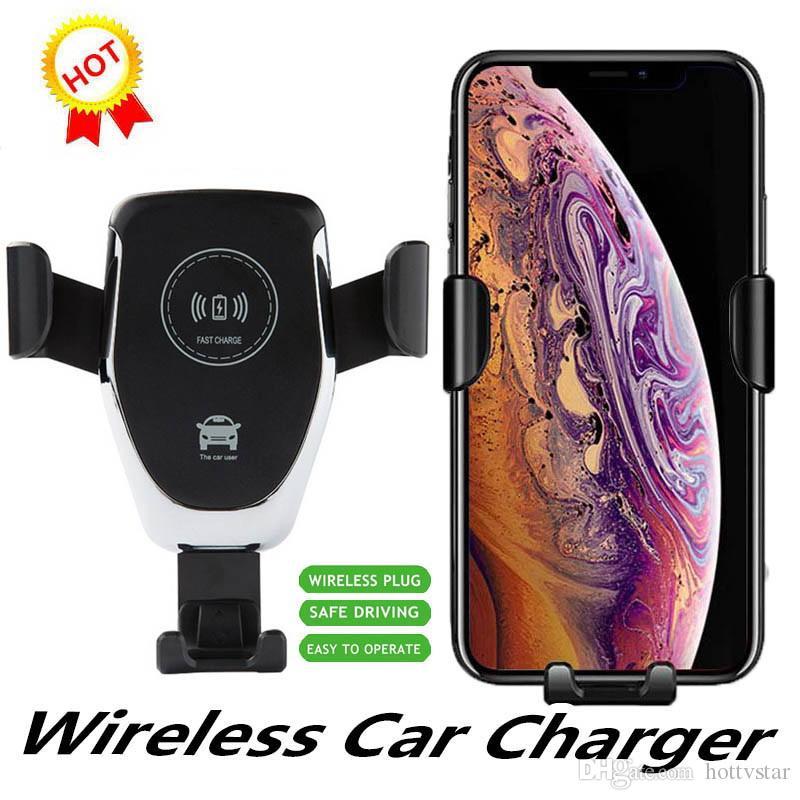 1 PCS Qi Gravity Wireless-Ladegerät für iPhone X XR XS Max 8 10W schnelle Funk-Kfz-Ladegerät Lade-Pad für Samsung-S9-Auto-Halter Ladegerät