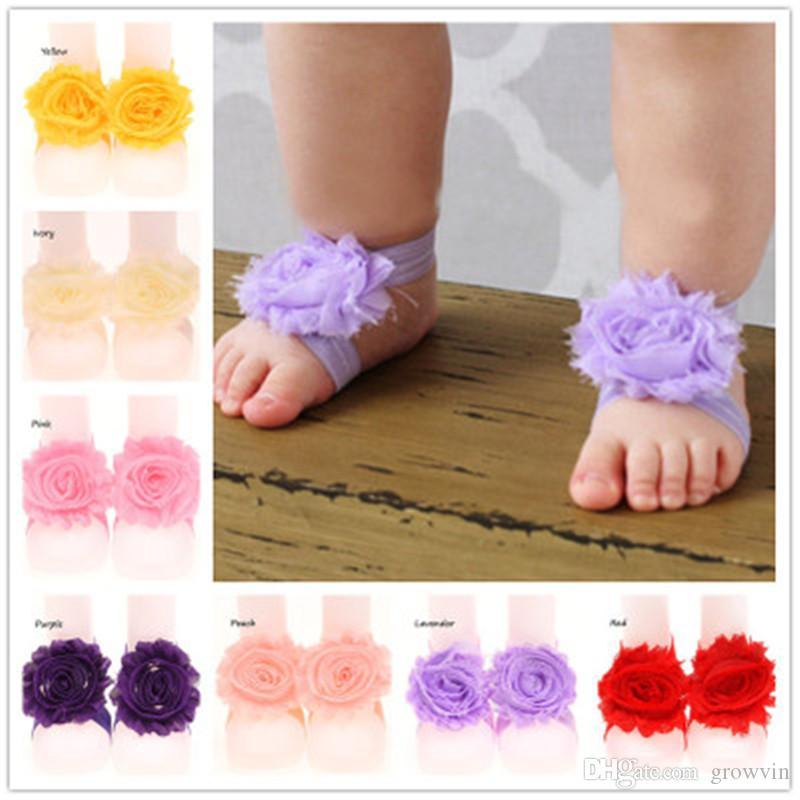 Малыш сандалии шифон цветок обувь обложка босиком ноги цветок галстуки младенческие дети девушка дети первый ходунки обувь фотография реквизит K325