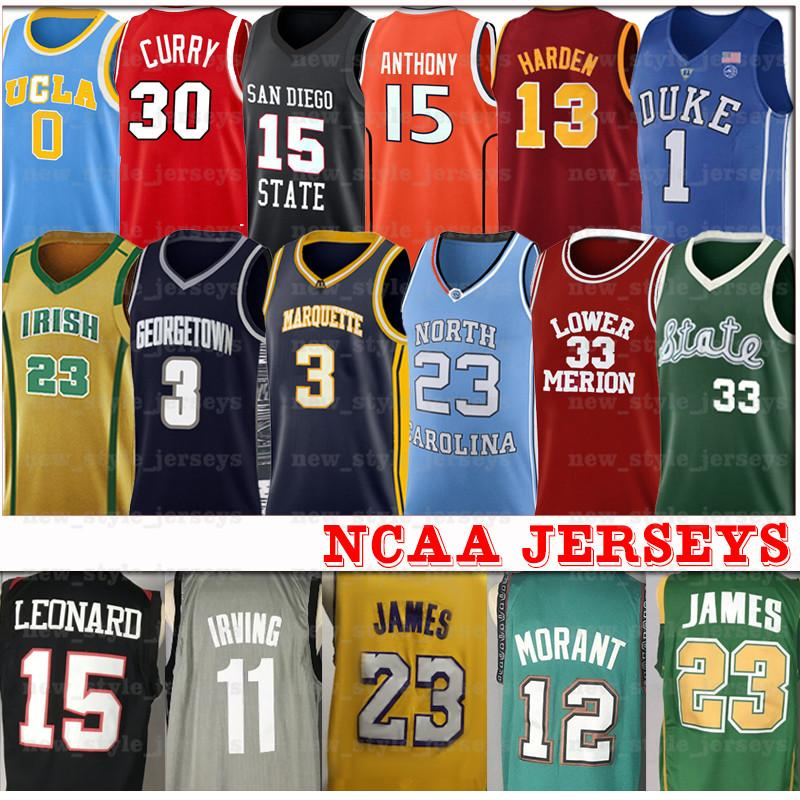 NCAA ليبرون ديورانت 12 جا 23 NCAA ويليامسون صهيون مايكل مورانت Doncic ايفرسون كاري بتلر هاردن كلية كرة السلة الفانيلة