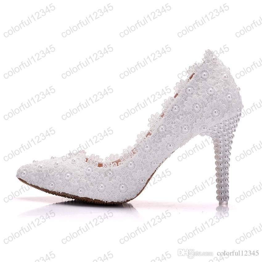 2019 New Style Lace Flower Wedding Shoes Beautiful Hot Sale Women High Heels Girl Party Prom Pumps Bridal Shoes White 9CM Heels Basketball Shoes Mens