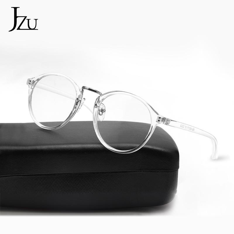 All'ingrosso-JZU Moda rotonda trasparente occhiali chiara cornice d'epoca cornici donne Spectacleglasses uomini degli occhiali chiari