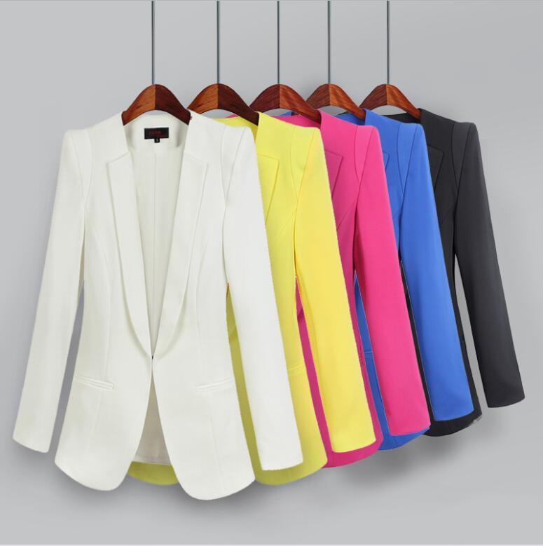 Más el tamaño L XL 2XL 3XL Trajes 4XL Blazer Mujeres prendas de vestir exteriores 2019 señoras de la moda Blazers Blanco de Otoño Las mujeres Traje Negro Escudo Mujer