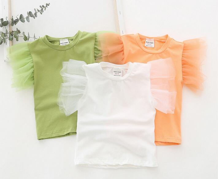 2020 INS Kız çocuklar giysi Mesh Kısa Kollu Katı Renk gömlek Yuvarlak Yaka Gömlek Yaz Basit stil kız TOP% 100 pamuk Giyim