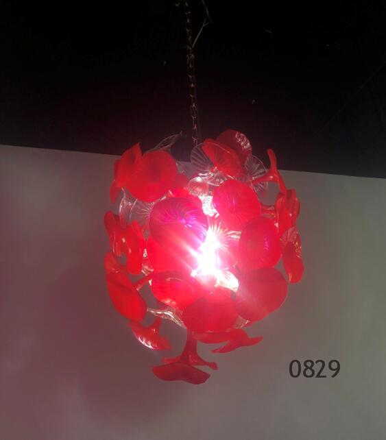 2020 Newest Handmade Blown Glass Chandelier and Pendant Light Fixture LED Red Crystal Chandelier Lighting Dining Room