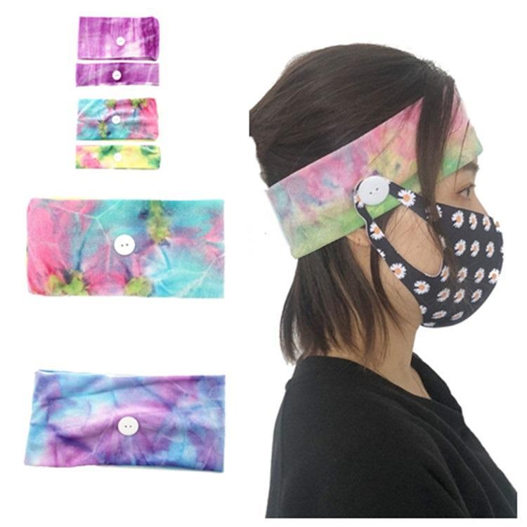 fashion Mask Earloop Hairband Disposable Mask Ear Buckle Elastic Headband Ear Lanyard Holder Sports Headbands With Button T2I5895