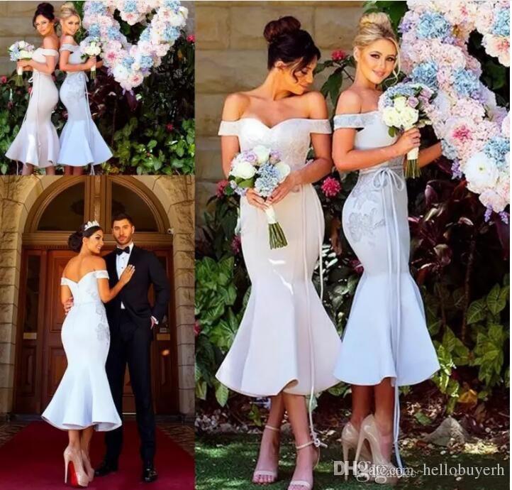 Chic moderno sirena corta vestidos de dama de honor sexy fuera de los hombros apliques de dama de honor vestidos de cóctel vestido de fiesta por encargo 2019
