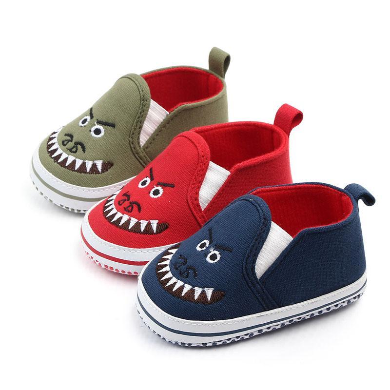 طفل صبي قماش الانزلاق حذاء طفل رضيع متعطل حذاء طفل على أطفال prewalker حذاء طفل الرسوم المتحركة للأطفال 0-12 شهر