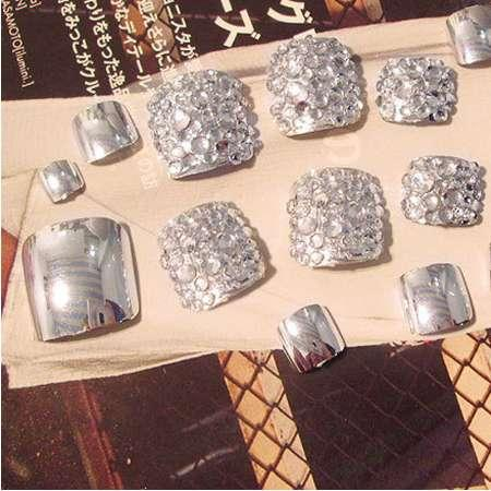 24 Pcs/Set Foot False Nail Tips With Glue Toe Art Tool Glitter Rhinestone Fake Toes Nails For Women HB88