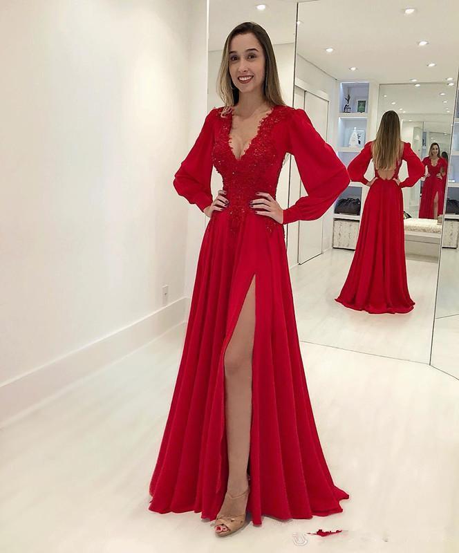 مثير أحمر خط اللباس الحفلة الراقصة الشيفون ديب V عنق طويل الأكمام الرباط يزين فساتين سهره فساتين مناسبة رسمية