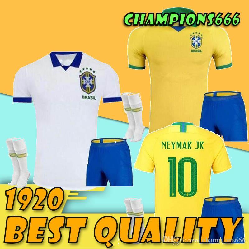 2019 2020 Pullover da calcio Brasile ADULT Maglia Brasile JESUS COUTINHO FIRMINO MARCELO Maglia da calcio Camisa Boy Maglia da calcio G.JESUS