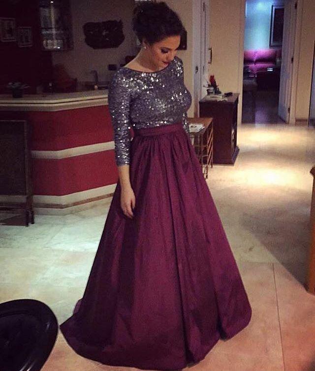 Argent élégant Sexy Paillettes femmes Corsage formelle Party robes Plus Size arabe musulman Bourgogne Jupe à manches longues de soirée robe de bal 2020