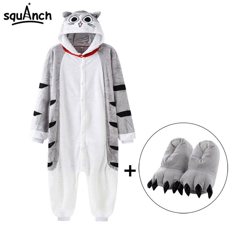 Chi Cat Onesie With Slippers Kawaii Kitty Pajama Animal Kugurumi Women Girl Adult Overall Winter Warm Soft Street Wear Jumpsuit T200110