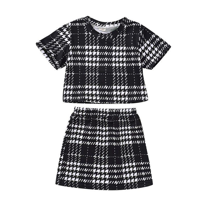 Çocuk Kız Etekler Suits Bebek Bebek Ekose Kısa Kollu Çocuk Casual Giyim Kız Düz etekler Bebek Casual Giyim 1-5T 06 Tops