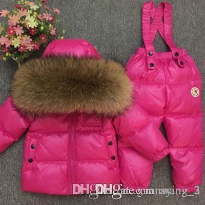- 30degrees зимняя детская одежда комплект Россия девочка лыжный костюм устанавливает мальчика Спорт на открытом воздухе дети пуховики куртки + брюки мех 90-140 000