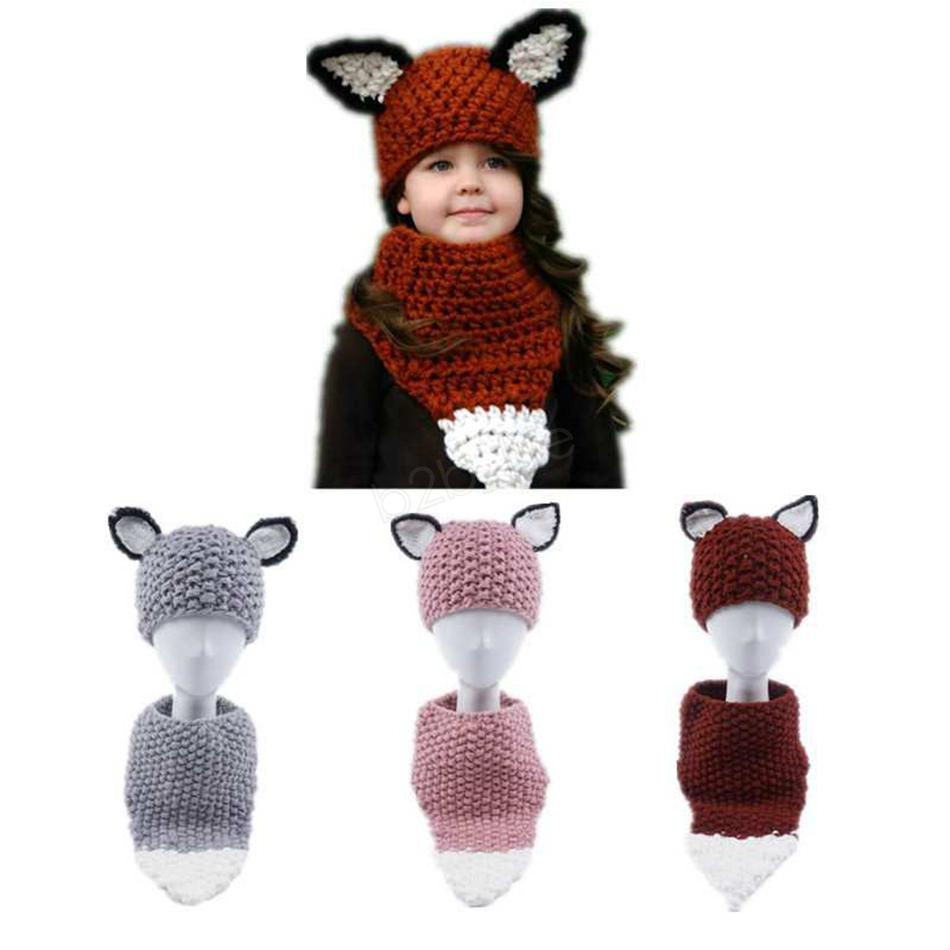 Fox Ear Baby Knitted Hats with Scarf Set Winter Kids Boys Girls Warm wool hat loop scarf Shapka Caps for Children Beanies Caps LJJA2810