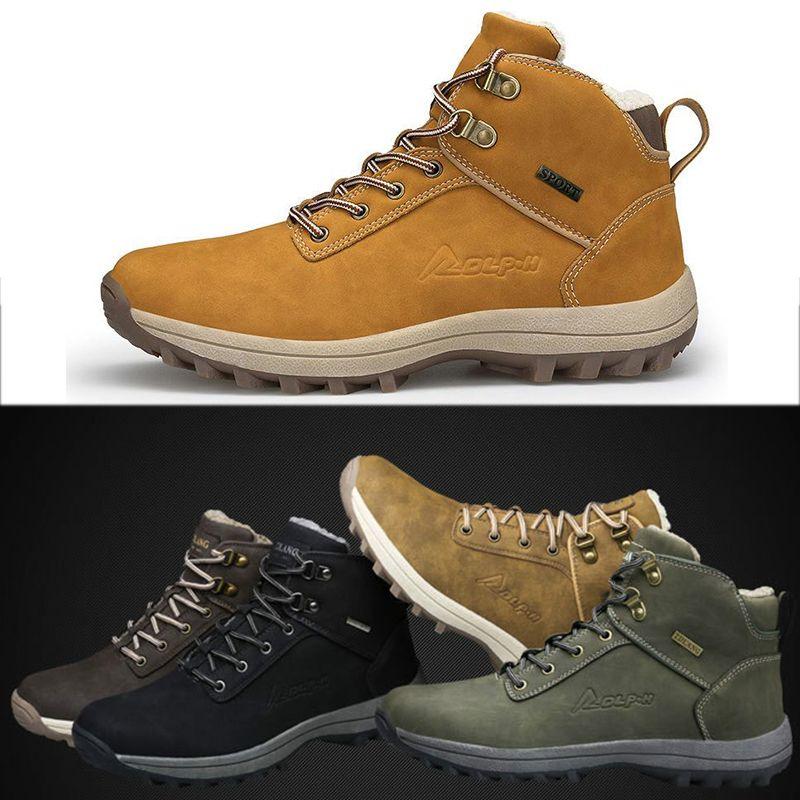 Snow Boots Открытый Большой размер снега сапоги теплые и бархат хлопок обувь Мужские кроссовки Покрытием Мужские Кроссовки