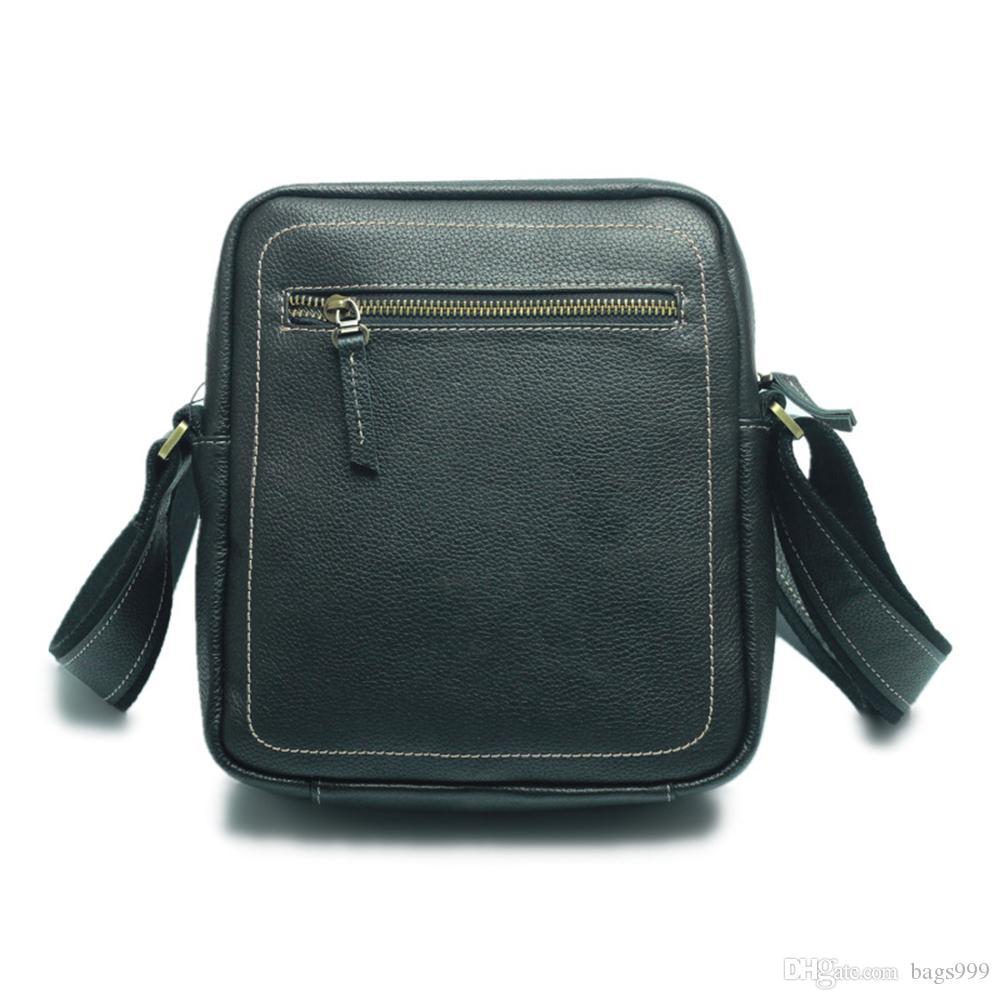 Cuoio genuino della mucca traversa del messaggero Borse corpo nero casual spalla della cartella borsa da viaggio Sport Zipper sacchetto dell'organizzatore di uomini d'affari Cartelle