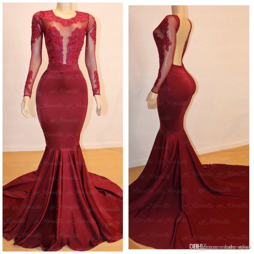 Red Sexy escuro mangas compridas Mermaid Prom Vestidos Illusion Sheer apliques Backless longa noite vestidos de vestes de soirée Yousef aljasmi