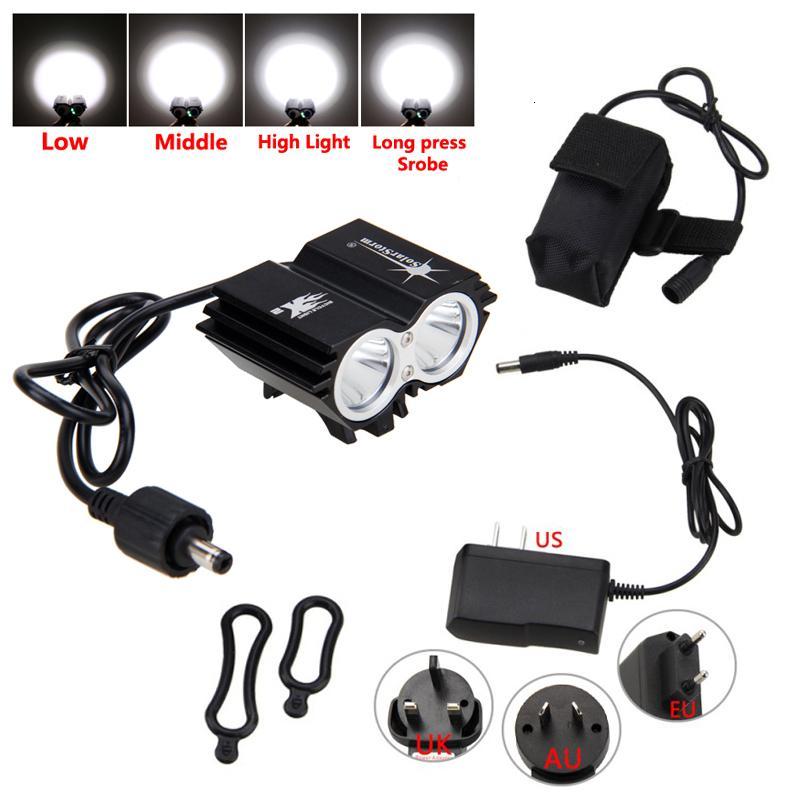 SolarStorm 6000LM 2x T6 LED avant lampe de vélo bicycle phares Lampe frontale 18650 Batterie et chargeur Y191211