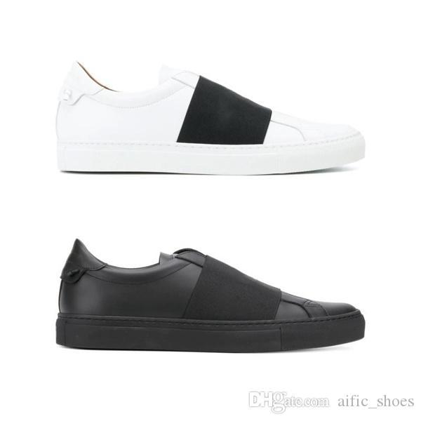 Mens Wide Black Elastic Band Sneaker