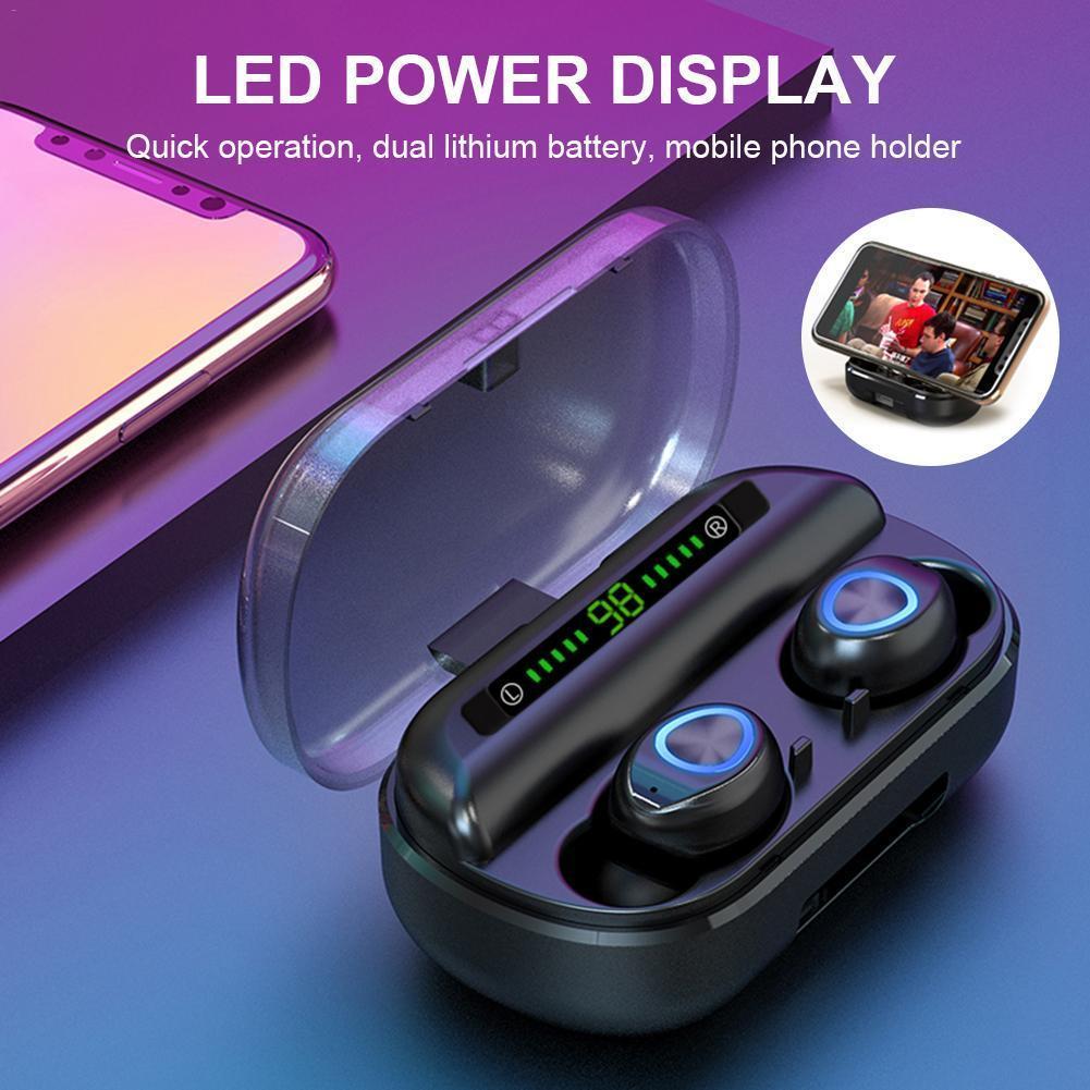 V10 TWS bluetooth cuffie auricolari stereo senza fili impermeabile di sport IP5X headset auricolari con box di ricarica schermo 2000mah Led digitale