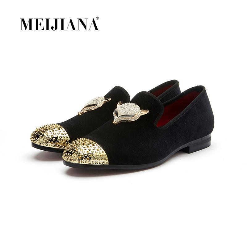 MeiJiaNa men black velvet shoes with skull buckle and gold toe British style men loafers luxurious men dress shoes