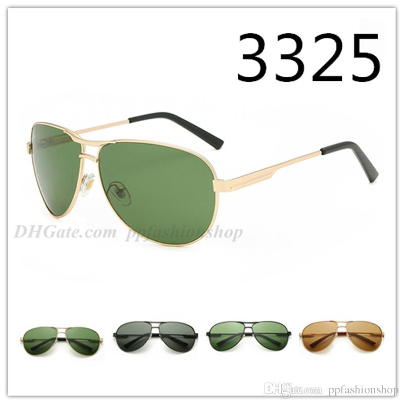 3325 new brand sunglasses fashion trend metal glass lens sun glasses Men's anti-glare driver driving Goggles Eyewear 4 colors options