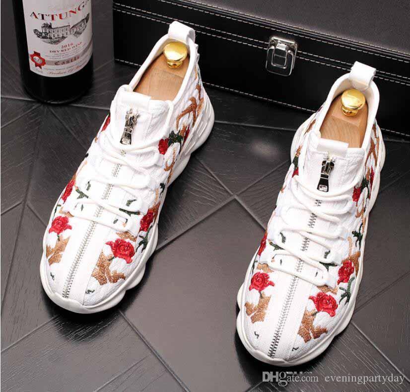 2019 Мужчины Модные Вышивка цветы молния вскользь Flats высокие вершины обувь Мужские свадебные Мокасины Мокасины Sapato Социальная Платформа обувь Мужчина для