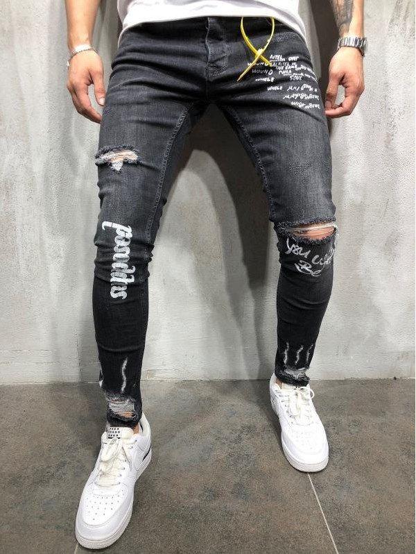 تمويه مندوب مبيعات خبير Agotado Moda Pantalones De Mezclilla Con Agujeros Para Caballero Jeans Hombre Negro Natural Soap Directory Org