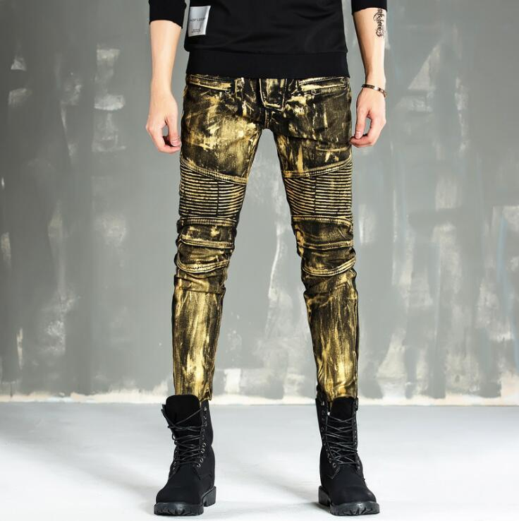 New Men's motorcycle jeans Gold silver coating Pleated slim small straight motorcycle pants Male personality long jeans