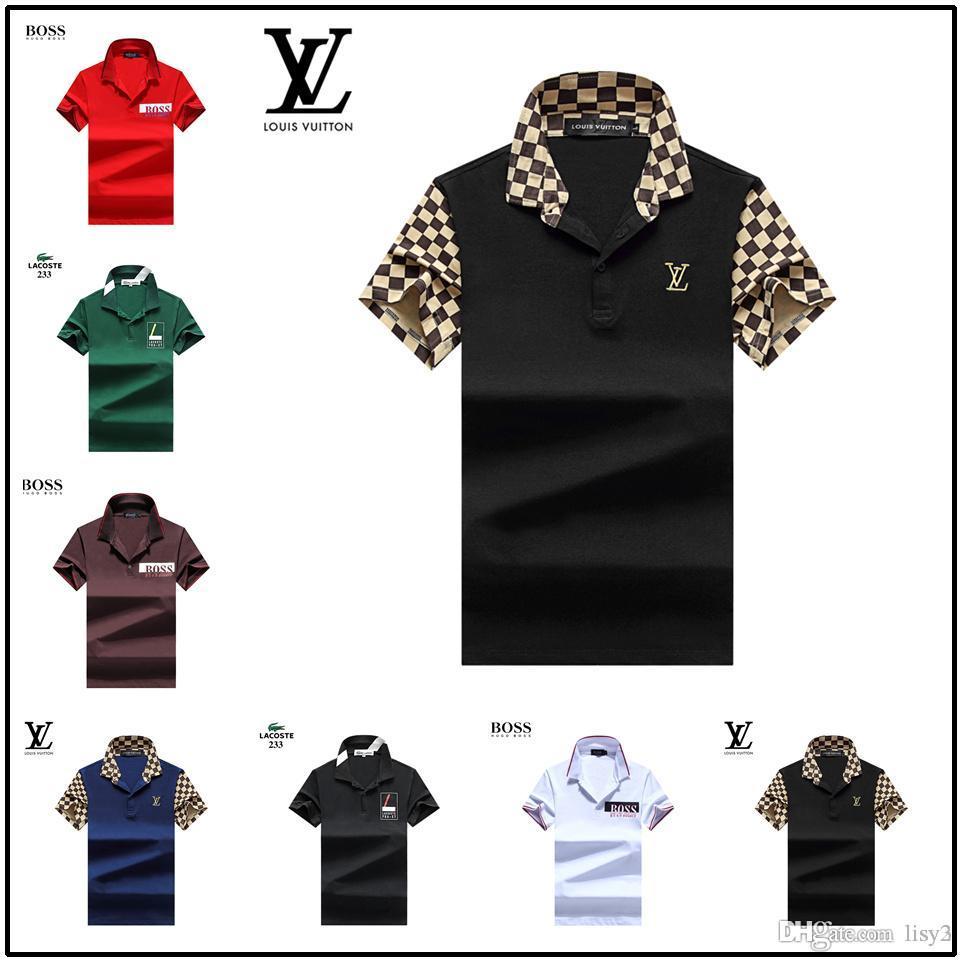 Moda Popular Águia Bordado Clássico Fit Golf camisas pólo dos homens Personalizado Designer homens casual algodão mistura dos homens Tee polos tamanho S