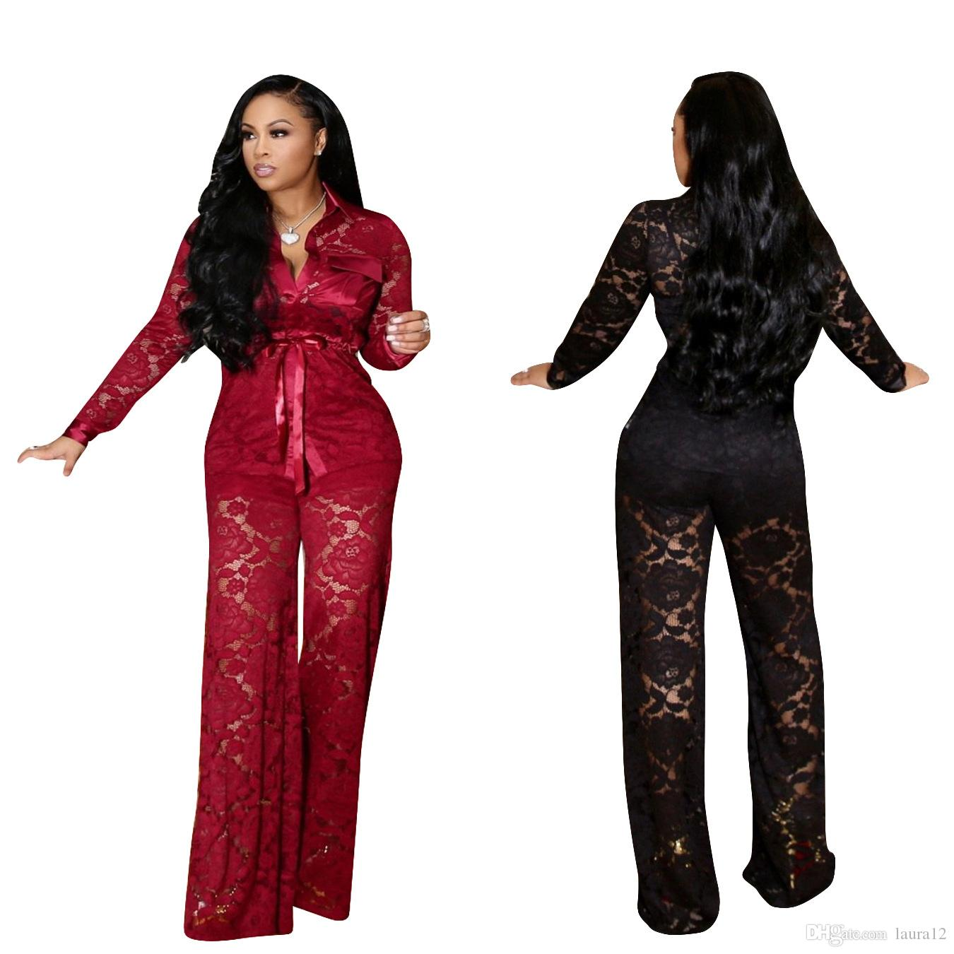 2019 Newest Fashion Lace Women Outfits Two Pieces See Though Lapel Neck Top and Long Pants Club Party Night Out Shirt Suits