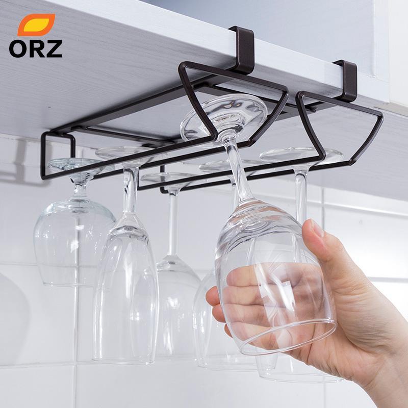 New Under Cabinet Display Hanging Shelf Stemware Wine Glass Holder Goblet Rack
