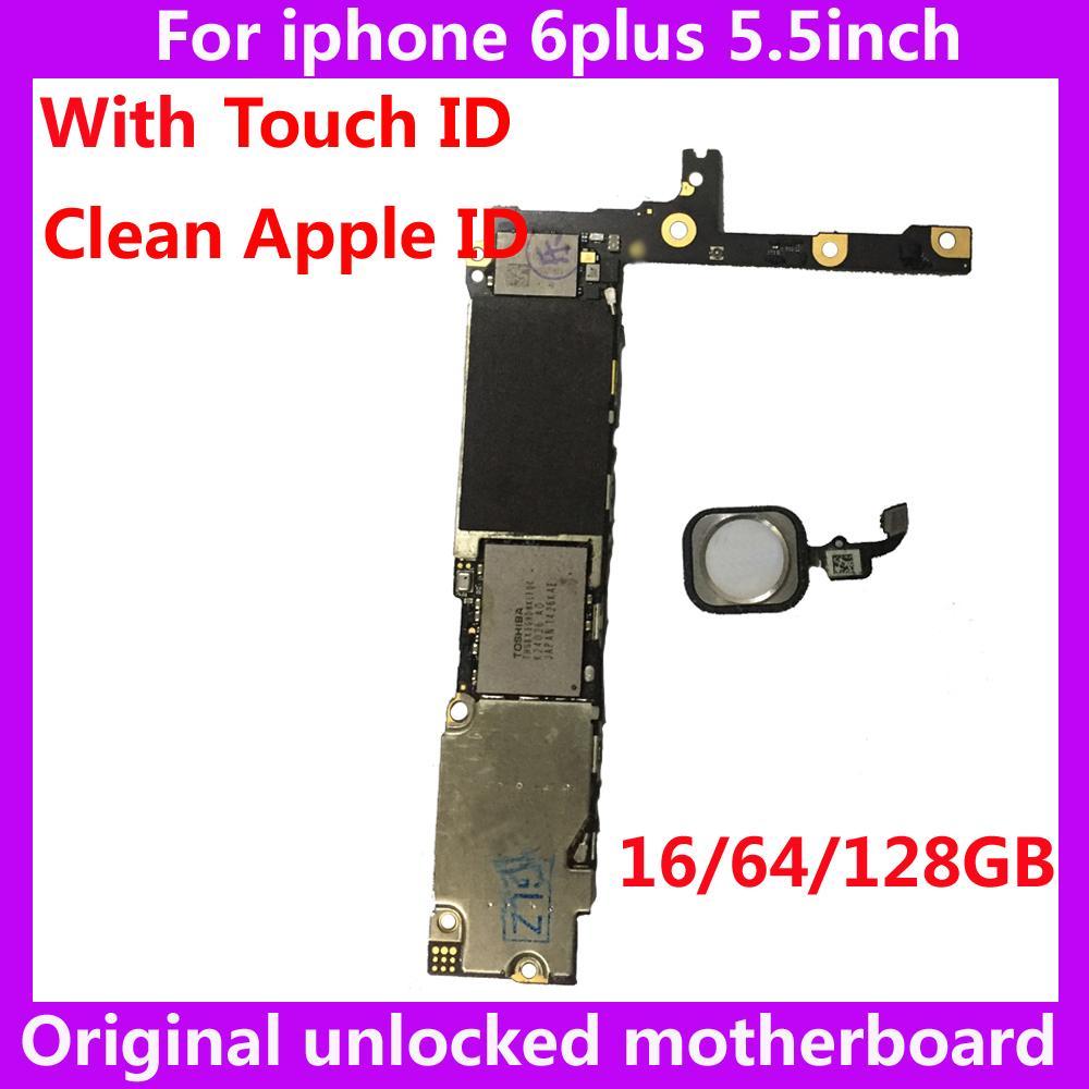 آيفون 6 بلس الأصلي اللوحة الأم مقفلة مع معرف اللمس 16 جيجابايت 64 جيجابايت 128 جيجابايت نظام نظيفة iCloud IOS + بصمة آيفون 6P
