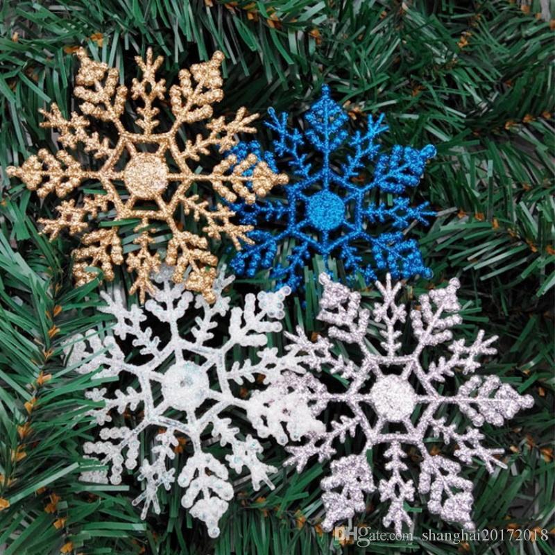 12pcs / lot décorations de Noël 10cm de Noël flocon de neige accessoires en plastique décorations pour arbres de Noël cadeau usine livraison gratuite