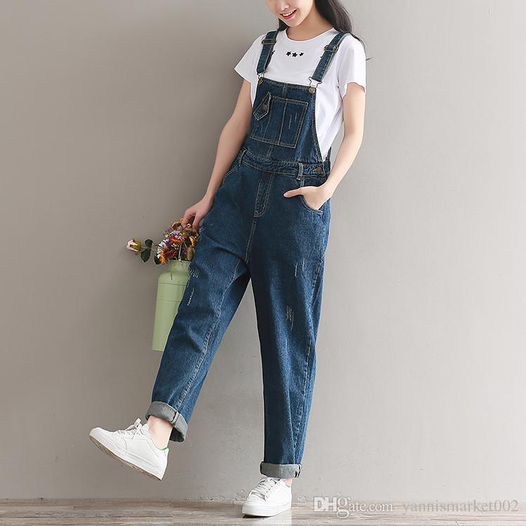 6692fe4d2e7 ... YSMARKET Brand Jeans Women Jumpsuit Denim Romper Overalls Casual Long  Trousers Vaqueros Basic Denim Pants Wide ...